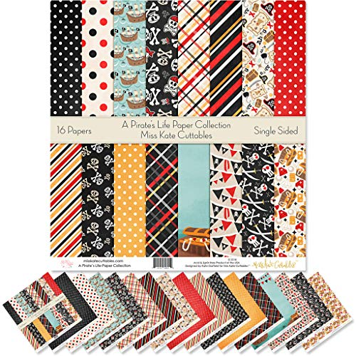 """Pattern Paper Pack - A Pirate's Life - Scrapbook Specialty Paper Single-Sided 12""""x12"""" Collection Includes 16 Sheets - by Miss Kate Cuttables"""
