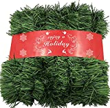 ATNKE 52Feet/16M Christmas Garland Decorations - Non-Lit Soft Green Holiday Decor for Outdoor or Indoor Use - Home Garden Artificial Greenery or Wedding Party,Stairs,fireplaces Decoration