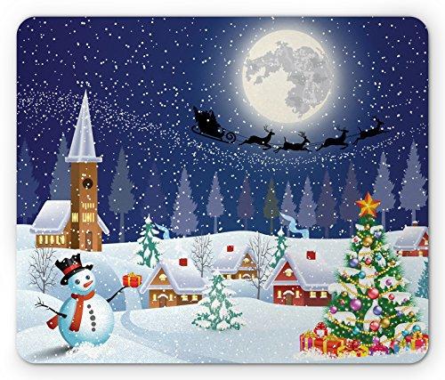 Ambesonne Christmas Mouse Pad, Winter Season Snowman Xmas Tree Santa Sleigh Moon Present Boxes Snow and Stars, Rectangle Non-Slip Rubber Mousepad, Standard Size, White Blue
