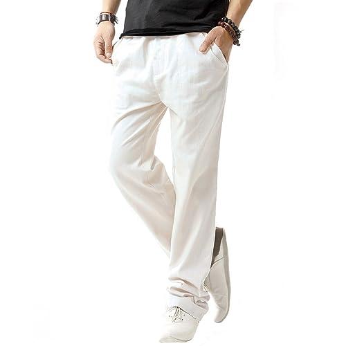 775035256a87 SIR7 Men s Linen Casual Lightweight Drawstrintg Elastic Waist Summer Beach  Pants