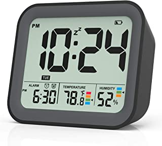 Digital Alarm Clock, Dual Smart Alarm with Workdays/Weekends Setting,Battery Operated, Snooze, Small Travel Clock with Ind...