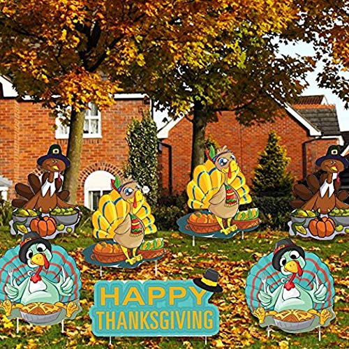 VictoryStore Yard Sign Outdoor Lawn Decorations: Thanksgiving Yard Cards, Happy Thanksgiving Turkey Pilgrims Yard Decoration with Stakes