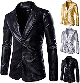 2bee6a044aed0 Men Two Button Shiny Slim Fit Jacket Blazer Lapel Skinny Black Gold Dinner Prom  Blazer Suit Coat Outerwear for Wedding