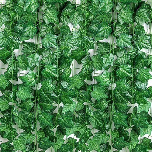 Pauwer 24 Pack (88 Inch Each) Artificial Ivy Vines Green Leaf Garland Fake Ivy Plants Hanging for Wedding Party Garden Wall Decoration