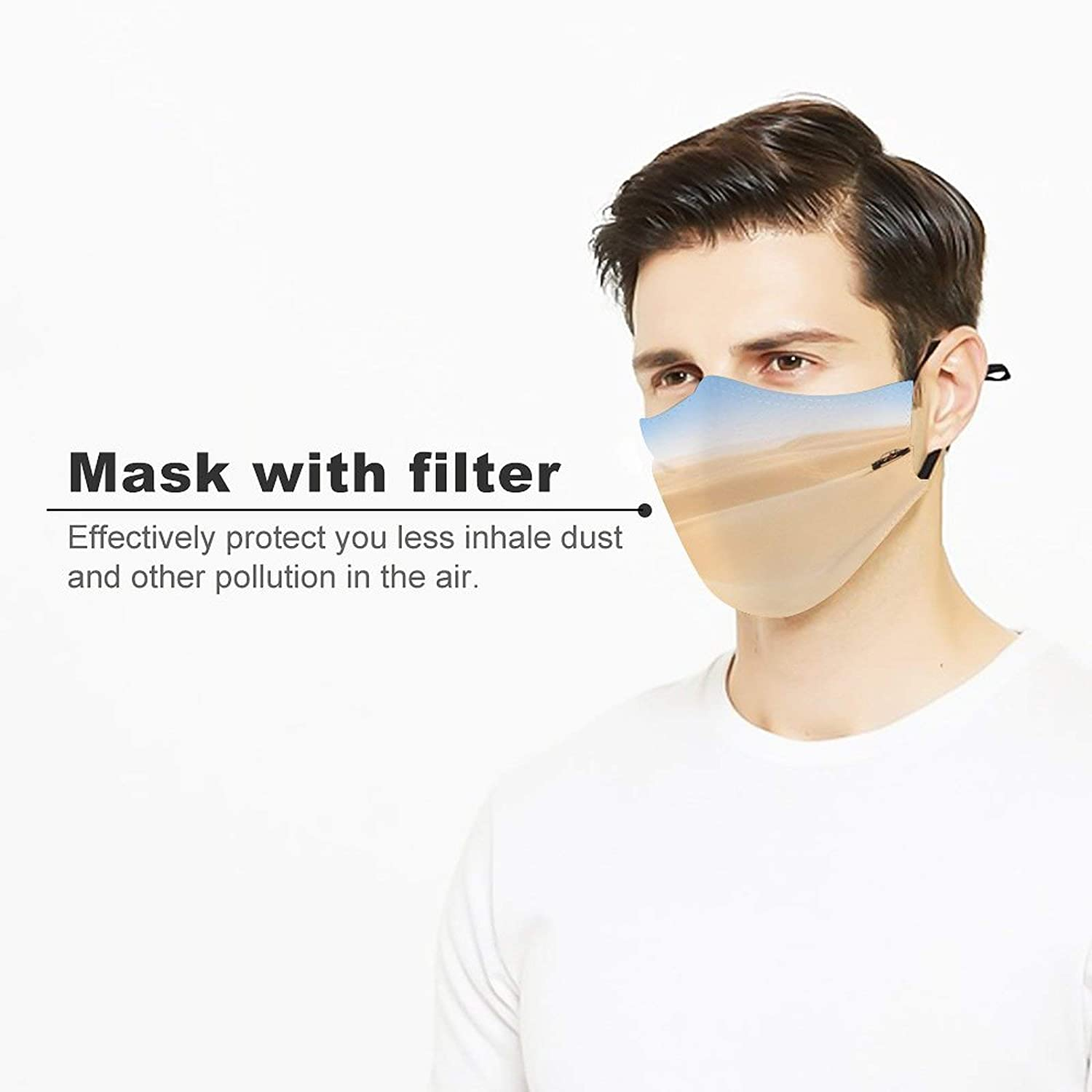 yanfind Mask with Filter Element Desert Eastern Arabic Doha Wealth Driving Beach Dune Fun Tradition Capital Dust Washable Reusable Filter and Reusable Mouth Warm Windproof Cotton Face