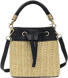 chinatera Crossbody Bags for Women Vintage Straw Weaving Shoulder Messenger Handbags, Straw Crossbody Shoulder Bag Drawstring Bucket Summer Beach Bag