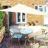 OKAWADACH Toldo Vela de Sombra Triangular 2 x 2 x 2m, Vela de Sombra Protección UV para Patio, Exteriores, Jardín, Blanco Crema