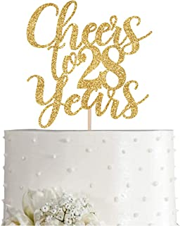 Gold Glitter Cheers to 28 years cake topper, Gold Happy 28th Birthday Cake Topper, Birthday Party Decorations, Supplies