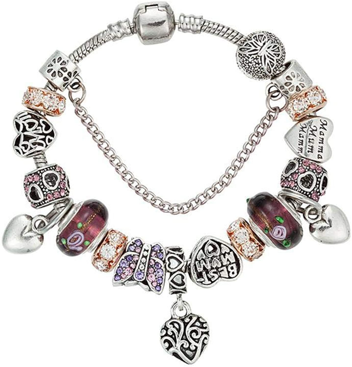 Zicue Stylish Charming Bracelet Exquisite Ornaments Women's Bracelet,Peach Heart Butterfly Alloy Inlaid Jewel Glass Bead Electroplating ( Size   20cm )