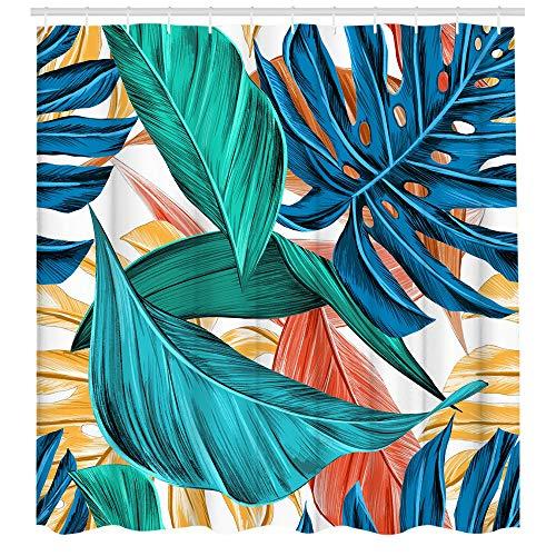 Duschvorhang mit tropischen Blättern, grünes Blatt, botanischer Duschvorhang, Aquarell, Pflanze, Blumenmuster, langlebig, modern, für Badezimmer, 72 x 182 cm
