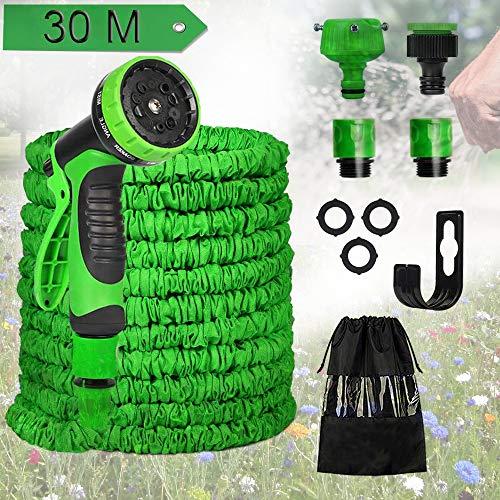 Flexischlauch, Flexibler Gartenschlauch 30M 100 FT, Wasserschlauch Ausgedehnt Gartenteich Schlauch Gartenschläuche mit 10 Funktion Garten Handbrause für Autowäsche, Gartenbewässerung, Yard