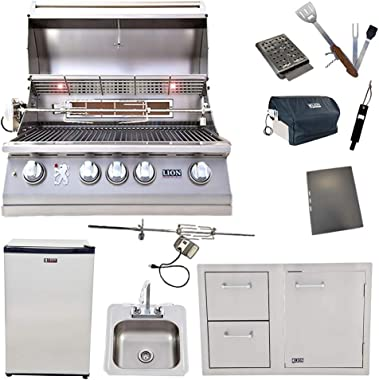 Lion 32-Inch Natural Gas Grill L75000 with Refrigerator and Door and Drawer Combo and Drop-in Sink with and 5 in 1 BBQ Tool Set Best of Backyard Package Deal