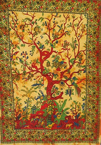 World Wide Kart Tree of life Nature Poster Tie Dye Cotton Tapestries Fabric Cloth Print Wall Hanging Bohemian Tapestry Ethnic Art India Vintage Home Dorm Decor Size 30x40 Inches Table Cover Art
