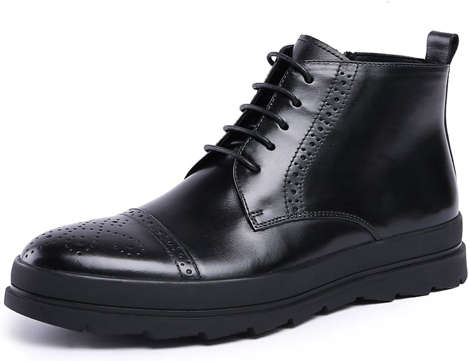 MedzRE Men's Black Leather Lace up Oxford Dress Brogue Ankle Boots