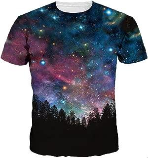 Men/Women 3D Tshirts Space Galaxy 3D Print Trees Stars Night Quick Dry Summer Tops Tees