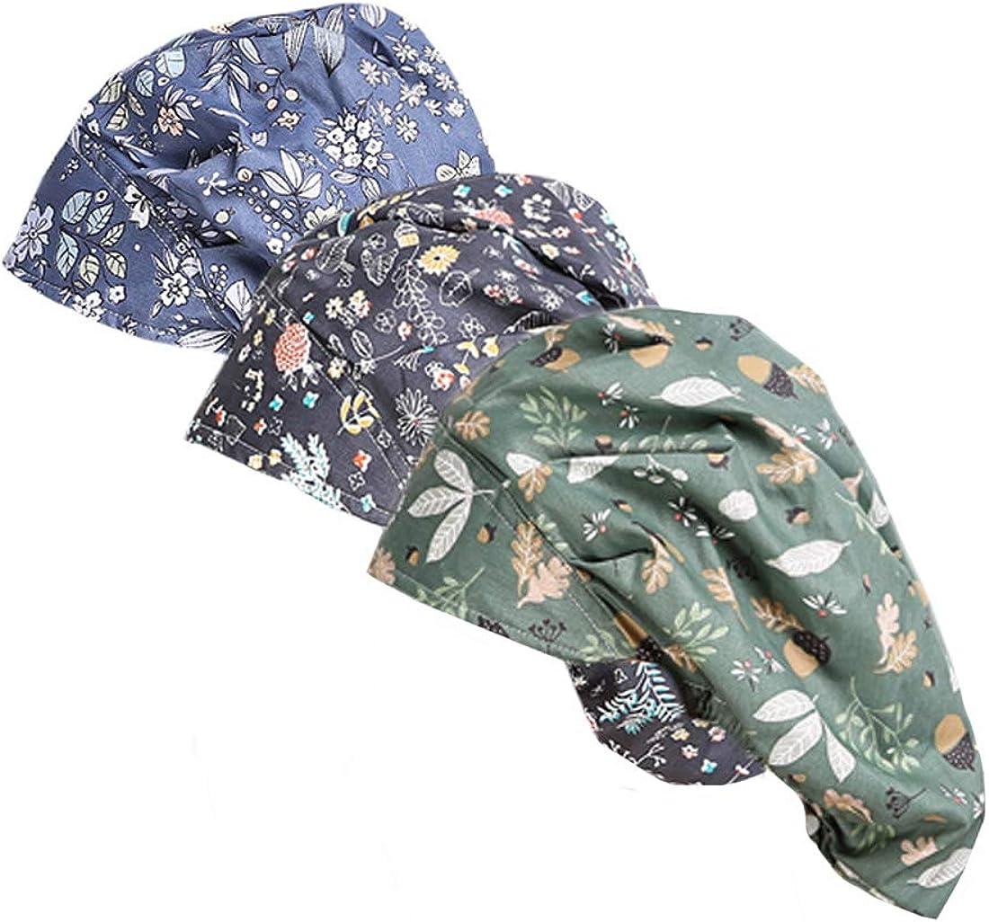 DREYOLIFE Arlington Mall 3 Piece Bouffant Hats Cotton Set Rare Value Sweatband
