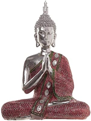 Puckator Thai Buddha Figurine-Metallic Contemplation (1 Supplied), Height 28cm Width 20cm Depth 8.5cm, Multi