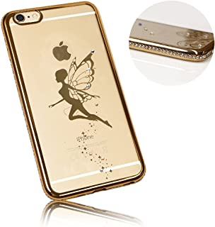 Xtra-Funky Range iPhone 5 / 5S / 5C / SE Slim Silicone Case with Sparkling Crystal Edging and Fairy - Gold