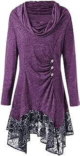XFentech Women's Long Shirt - Fashion Turtleneck Asymmetric Long Sleeve Top Cowl Neck Blouse