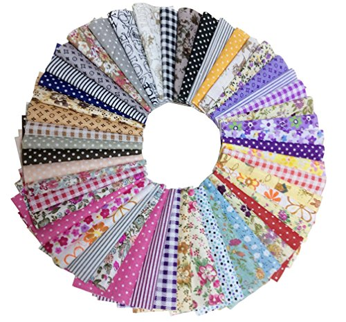 longshine-us 50pcs 4 x 4 Premium Cotton Craft Fabric Bundle Squares Patchwork Lint DIY Sewing Scrapbooking Quilting Dot Pattern Artcraft Dot