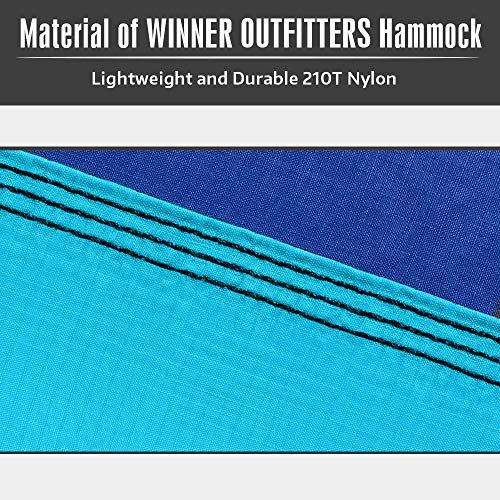 WINNER OUTFITTERS Double Camping Hammock - Lightweight Nylon Portable Hammock, Best Parachute Double Hammock for Backpacking, Camping, Travel, Beach, Yard. 118(L) x 78(W), Sky Blue/Blue Color