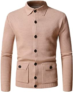 Loyomobak Men's Knitted Casual Slim Pockets Button Front Cardigan Sweater Coat