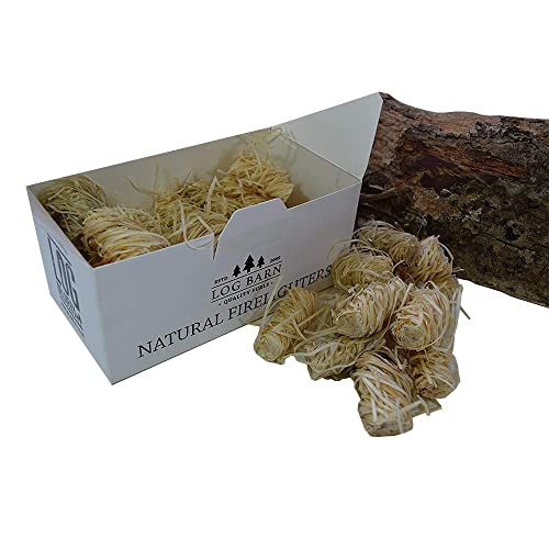 Natural Eco Wood Firelighters - 40 Wood Wool Flame Fire Starters Per Box. Great for Lighting Fires in Stoves, BBQ's, Pizza Ovens & Smokers
