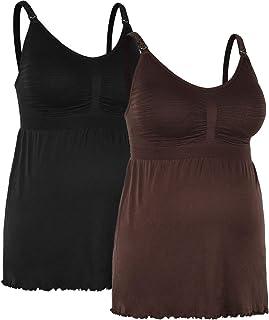 iloveSIA Women's 2 Packs Nursing Tank Tops for Breastfeeding Maternity Cami Shirt Built in Bra