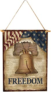 Amosfun Wooden Independence Day Hanging Board Rectangle Home Decoration Craft Ornament