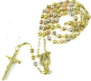 14k Yellow+White+Rose Gold Diamond Cut Catholic Rosary Prayer Beads Necklace