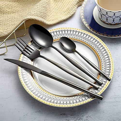 Forks Black Cuchas de cucharas 304 Acero inoxidable Western Cutlery Set Cocina Comida Navidad Regalo Vajilla Vajilla Vajilla (Color : Black)