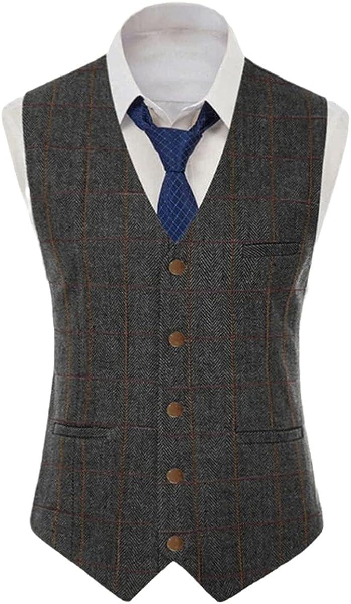 Men's Vest Tweed Suit Business Clothing Striped Vest Steampunk Groomsman Wedding Black Green Jacket