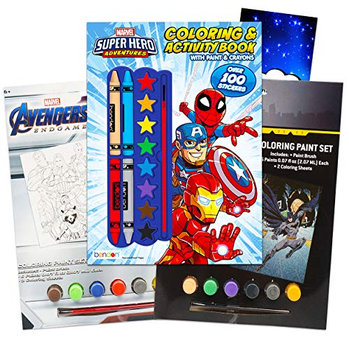 Super Hero Adventures Batman Avengers Paint With Water for Kids Toddlers Bundle ~ 3 Superhero Activity Books with Paint, Brush, Crayons, Stickers, and Door Hanger (Superhero Party Supplies)
