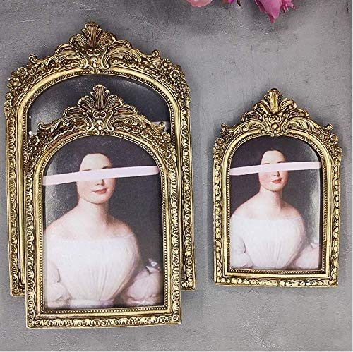 Koperkleurige gebogen retro fotolijst, gouden ellips, oude 8-inch oude muur gemonteerde hars frame