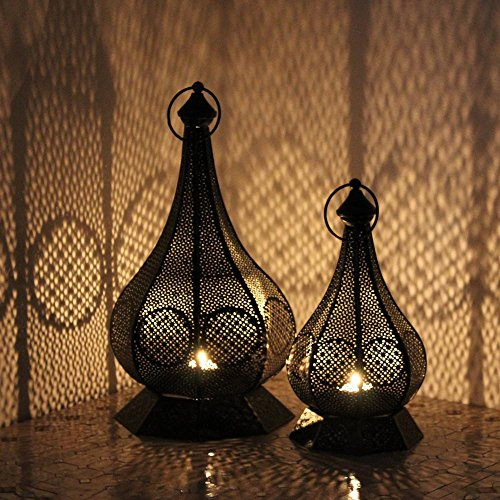 albena shop 73-117 Hudi orientalisches Windlicht Laterne (2er-Set: Gr.S + Gr.L)