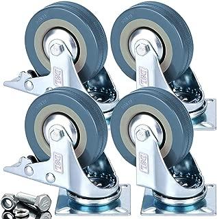4 ruedas giratorias de goma de 50 mm con freno de alta
