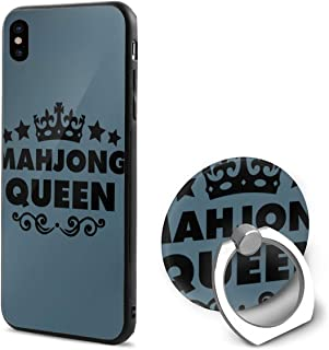 Mahjong Queen Mahjongg Mah-Jong Chinese Jewish Game Slim Hard PC Back Protective Cover Anti-Scratch Shockproof Case with Ring Holder for iPhone X/iPhone Xs 5.8 Inch Black