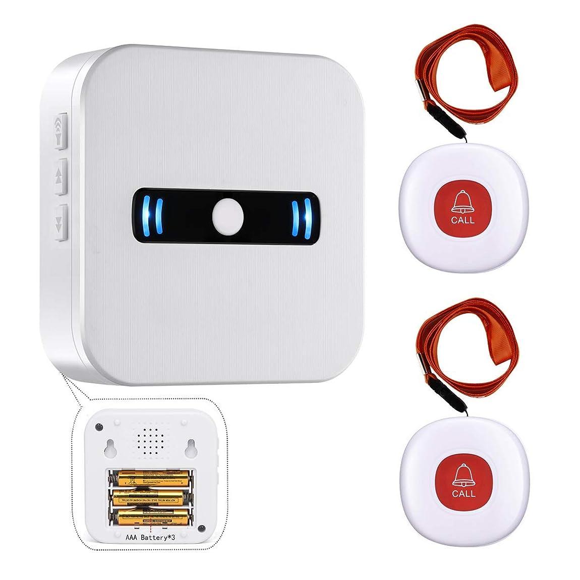 トライアスロン発信静的Daytech 介護者 ページャ 無線 コール ボタン 警報 システムにおける 高齢者個人 用 (レシーバー1 + ボタン2,レッド)