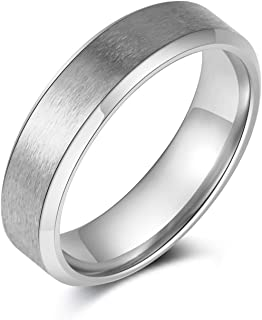 Scddboy 6MM الفولاذ المقاوم للصدأ ماتي النهاية خواتم للرجال خاتم الزفاف الكلاسيكية بسيطة بسيطة بسيطة