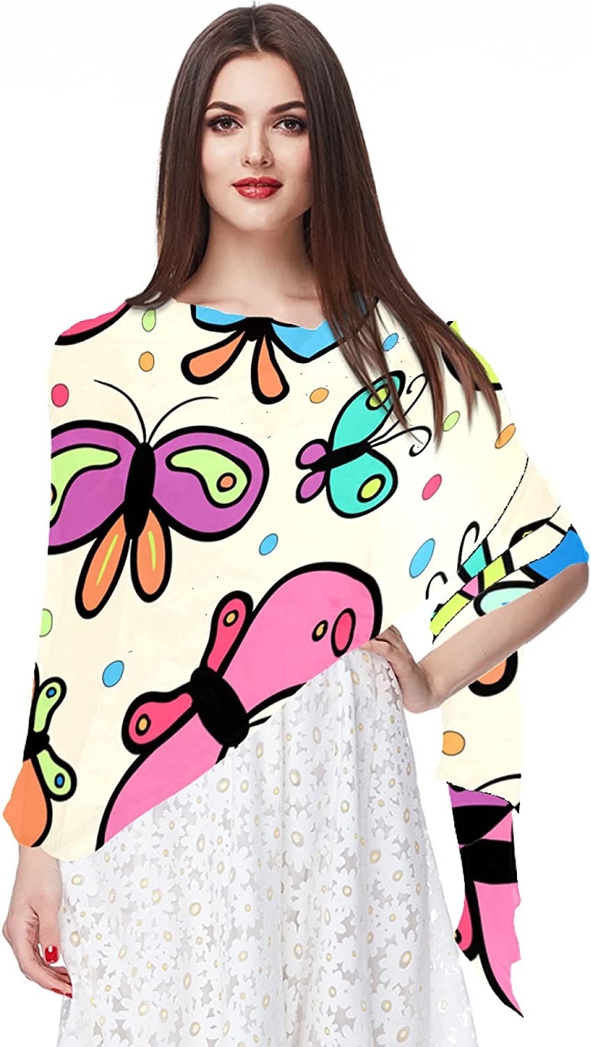 Colorful Butterfly Pattern Chiffon Scarf for Women Fashion Soft Hijab Long Scarf Wrap Scarves