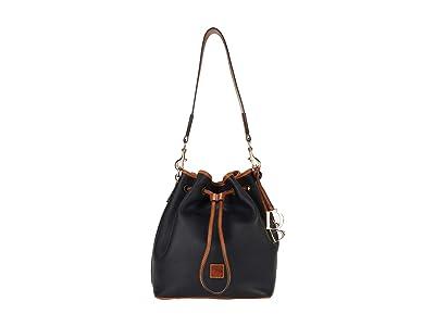 Dooney & Bourke Pebble II Drawstring (Black/Brandy Trim) Tote Handbags