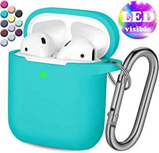 Henva AirPod Case Protective Cover (Front LED Visible), Shockproof Silicone AirPods Cute Skin Compatible Apple AirPods 2 & AirPods 1 Wireless Charging Cases for Women, Men, with Keychain, Teal