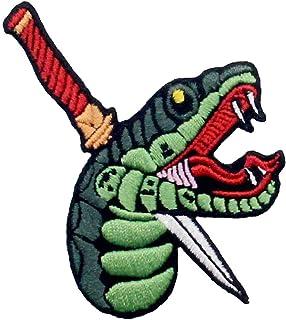Toppa ricamata da applicare con ferro da stiro o cucitura, tema: Serpente con pugnale