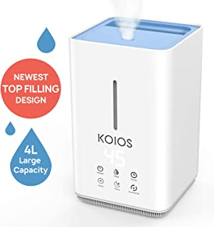 KOIOS Humidifiers for Bedroom - 4L Advanced Easy-Clean Top-Filling Design, Ultrasonic Cool Mist Humidifier with Intelligent Constant Humidity & Timer Function, 3 Mist Modes, 3-Year Warranty