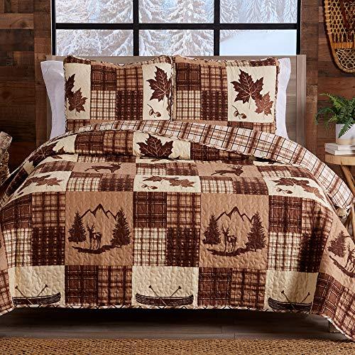 Great Bay Home Lodge Tagesdecke für Doppelbett & Queen-Size-Bett, mit 2 Kissenbezügen, 3-teiliges wendbares Bettwäsche-Set für alle Jahreszeiten, rustikales Bettwäsche-Set aus der Redwood Kollektion