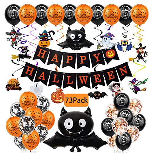 Halloween Balloons Confetti Balloons 73Pcs 12 Inches Latex Balloons with Halloween Pumpkin Ghost Balloons Banner for Halloween Party Decoration