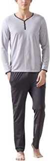 Pijamas para Hombre Algodón, Hombre Pantalones de Pijama Largos Primavera Suave y Suave, Hombre Camisones Pijamas Cuello en V con Botones