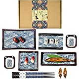 Artcome 10 Piece Japanese Style Ceramic Sushi Plate Dinnerware Set with 4 Sushi Plates, 2 Sauce Dishes, 2 Pairs of Chopsticks, 2 Chopsticks Holders