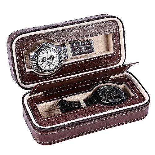 YUYTE Cajas para Relojes, Bolsa de Almacenamiento de Reloj, 2 Grids Caja de exhibición del Reloj con Cremallera portátil para Viajes y Almacenamiento