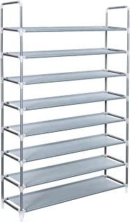 SONGMICS 8 Tiers Utility Steel Shoe Rack Shoe Storage Organizer Cabinet Tower Stackable Shelves Holds 40 Pairs Of Shoes - 39.4 x 11 x 56.3 Inches Grey ULSR08G